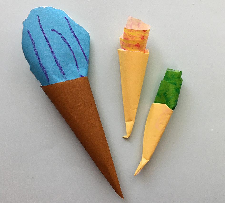 折り紙・おままごと・簡単・作り方・2歳・アイスクリーム